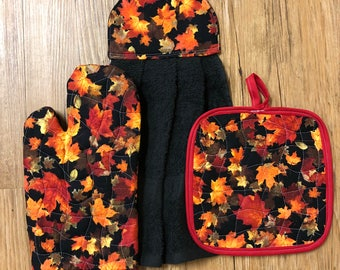 Fall Leaves Oven Mitt, Pot Holder and Hanging Towel Kitchen Set