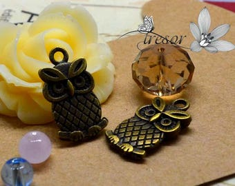 set of 8 QDW299 pendant Bronze owl, bird, OWL