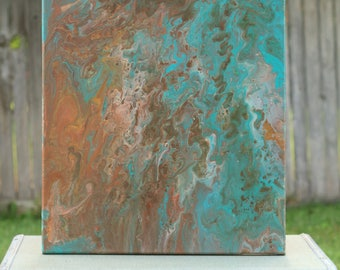 Original Abstract Acrylic Fluid Painting - Rust