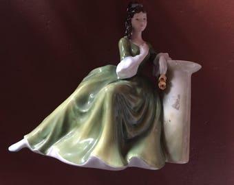 "Royal Dalton Figurine ""Secret Thoughts"" HN2382 discontinued in 1988 Rare Dalton Lady"