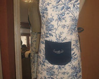 Blue floral apron, DrawString, embroidered Pocket