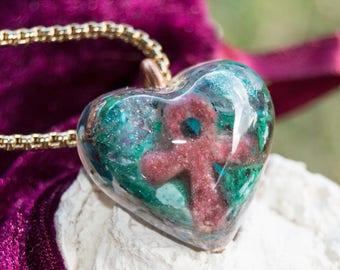 Ankh Crystalline Orgone Pendant Necklace - Tanzanite - Life Force Generator 528hz / Solfeggio attuned - EMF Protection - Artisan Jewelry