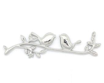 x 1 jewelry bird branch charm connectors shiny 4.4x1.6 - 3.9 x 1.8 cm