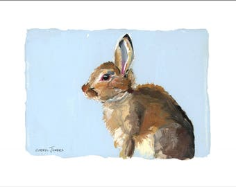 "Emmy's Bunnies, Hops, 10x8"" Fine Art Print, Limited Edition, Hand Numbered and Signed, Giclee, Nursery Art"