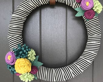Felt Flower Wreath- Modern- Spring