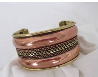 "Vintage Copper Bracelet with Gold and Silver Tones, adjustable up to 7"" wrist"