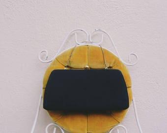 Vintage 50s Clutch Purse / Black Handbag / Large Clutch Handbag