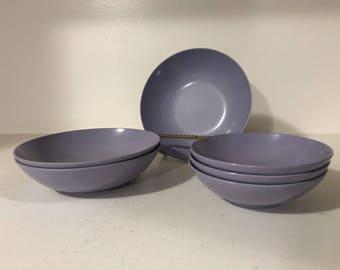 "Set Lot of 6 Mid Century Purple Royalon Melmac #308 & 312 - 6"", 5"" Bowls"