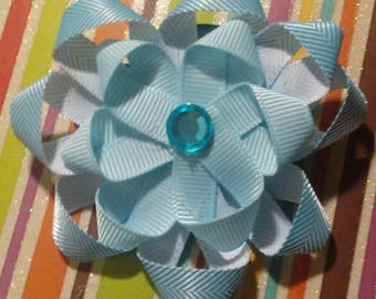 Blue Flower Hair Bow