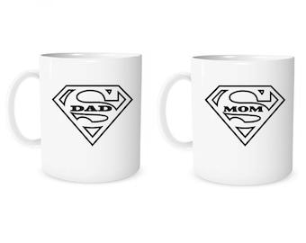 Custom Mug Personalized Mug Super Dad Super  Mom Mug Coffee Mug Dad Mug Mom Mug Anniversary Mug Wedding Mug Valentine Mug Couple Gift