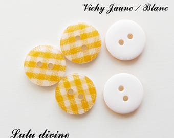 Set of 5 buttons round 13 mm 2-hole: gingham yellow / white