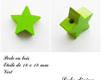18 x 18 mm wooden bead, bead flat Star: Green