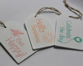3 label/tag messages assorted wood with hemp twine