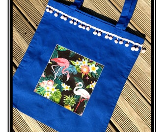 "Tote Bag ""Flamingos & tropics"" tropical flamingo pink blue pink blue"