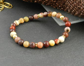 Bracelet made of mookaite with gilded silver
