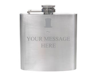 Personalised Engraved 6oz Silver Hip Flask - Top Hat Design