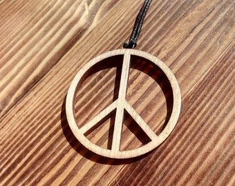 "Pendant made of wood "" Peace"""