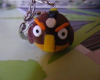 Brown bird with polymer clay keychain