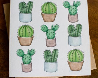 Cactus Pots Illustration Greetings Card