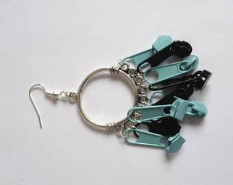 Earrings with sky blue zipper pull black