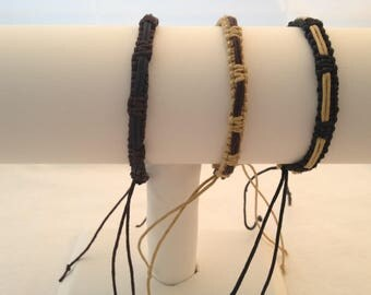Set of 3 adjustable braided Bracelets