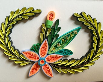 Flower Design:Handmade Quilling Art Gift-Handmade SpecialGift-Wall Art Picture-House Warming Gift-Special Flower Design-Gift For love
