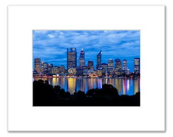 Perth City Skyline Evening Lights, Matted Photo Print (5x7 inches), South Perth, Perth City Sunset, Western Australia