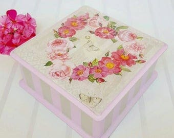 Jewelry wood box Pink jewelry box Flower motives storage box Wooden box decoupage Pink wood box Wooden jewelry holder  Gift for her
