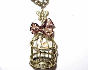 Kit ivory skull bronze birdcage necklace 80cm