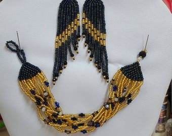 Beaded Tapestry Bracelet and Fringe Earring Set