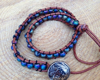 Double wrap polychrome glass bead leather bracelet with button clasp