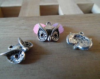 X 10 PCs 14mm silver plated OWL head charms