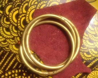 Brass Connected Woven Bangle Bracelet