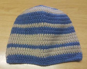 Blue&baige striped crochet beanie