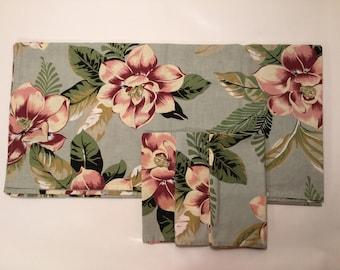 Hawaiiana Floral barkcloth design Square Cotton Tablecloth W/ 3 Napkins