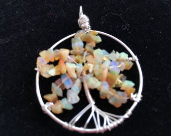 Wire wrapped Ethiopian Opal Tree of Life Pendant (amber colouration)