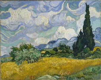 ORIGINAL AESTHETIC WASHABLE and tough semi-rigid PLACEMAT / Vincent van Gogh / field of wheat with a Cypress