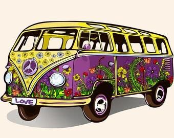 Vintage - Hippies - volkswagen combi 70 TABLE SET (2) - classic.
