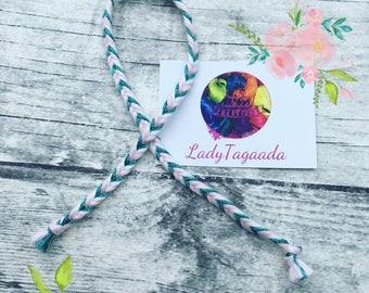 Bracelet pink turquoise Indian mat