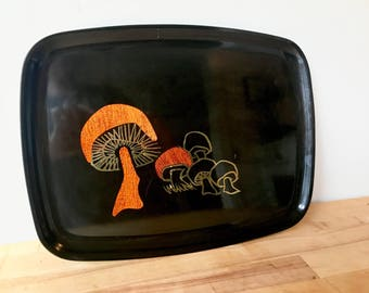 Couroc Inlaid Mushroom Serving Platter - Brass Black Lacquer MCM
