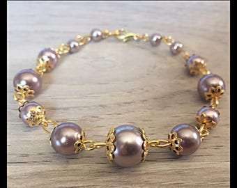 Golden taupe glass pearl bracelet-