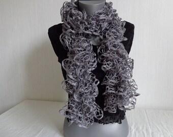 SCARF FROU FROU gray knit handmade