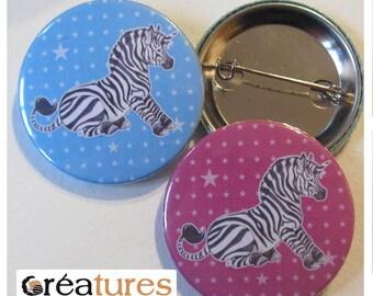Small badge Zebra cute Unicorn blue or pink 38mm