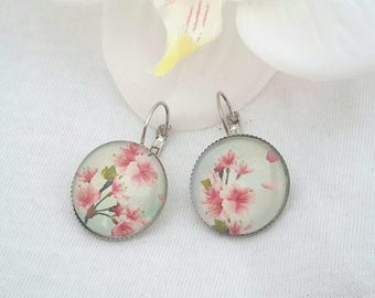 Handmade ❤ ❤ ❤ cherry blossom glass cabochon Leverback Earrings