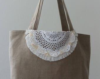 """Beach Boho """"Hohokams"""" bag. Linen / yellow stripes"""