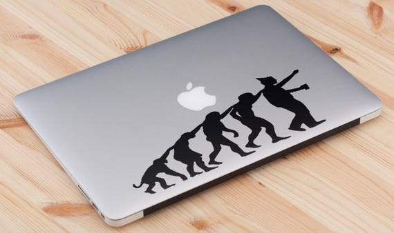 Man Evolution to Party Animal Decal Sticker for Macbooks and other Laptops, Partying Partygoer Bon Viveur Clubber Good times, mac