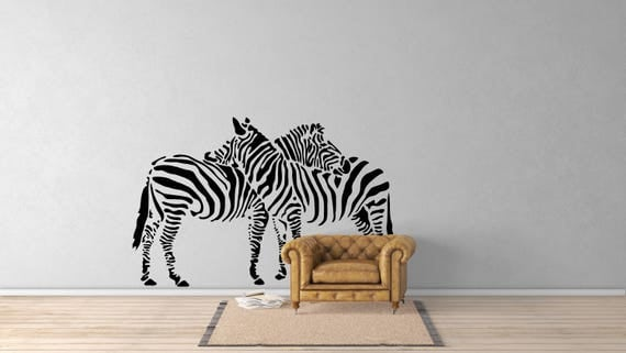 Two Zebras Silhouettes -  African Animals Wall Decal / Stickers, Jungle Wild Nature African Equids