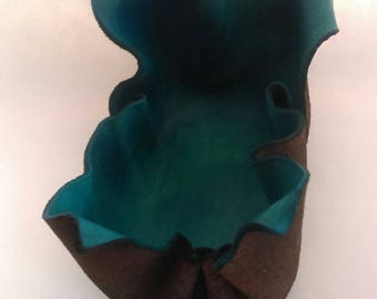 Blue Sculpted Leather Bowl