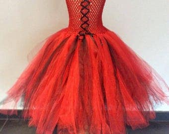 5-7 years old black and Red tutu dress
