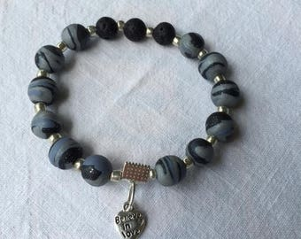 The 'Midnight' Full Bracelet with Lava beads